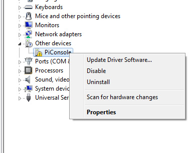how to set the usb driver setting to vendor